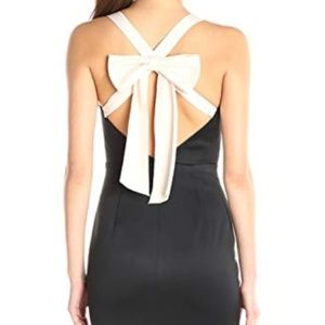 Cynthia Rowley Bow Back Black Ivory Dress Size 10